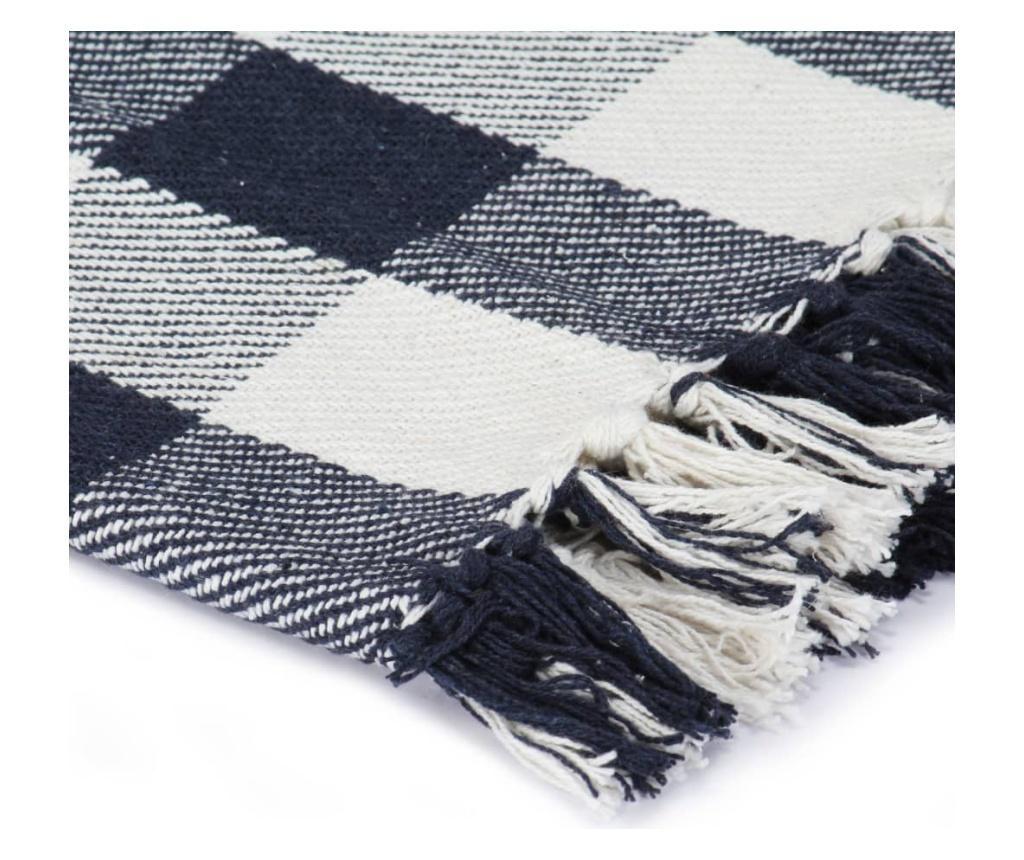 Přehoz bavlna károvaný 220 x 250 cm námořnicky modrý