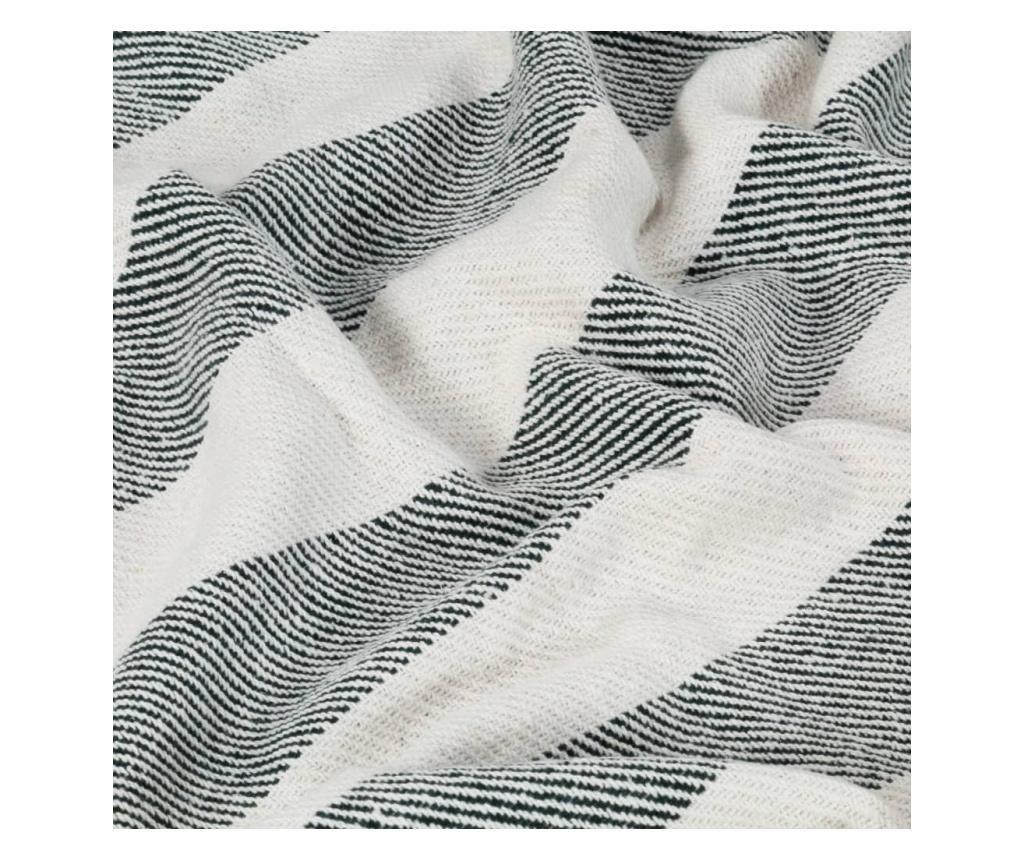 Přehoz bavlna pruhovaný 160 x 210 cm tmavě zelený