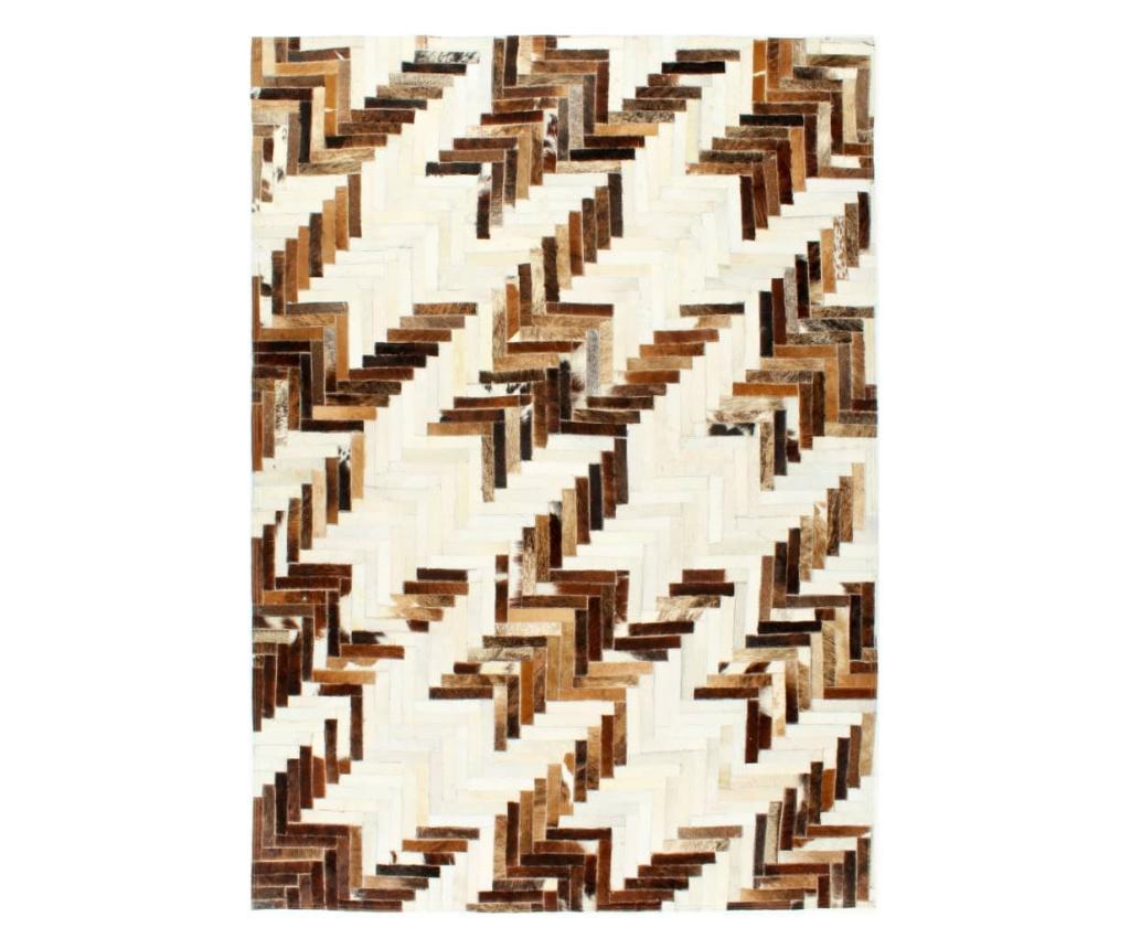 Dywan, skóra z włosiem, patchwork, 160x230 cm, brąz/biały