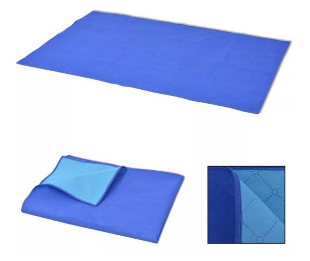 Patura pentru picnic, albastru si bleu, 150 x 200 cm