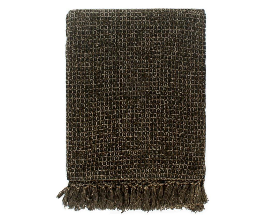 Přehoz bavlna 160 x 210 cm antracitovo-hnědý