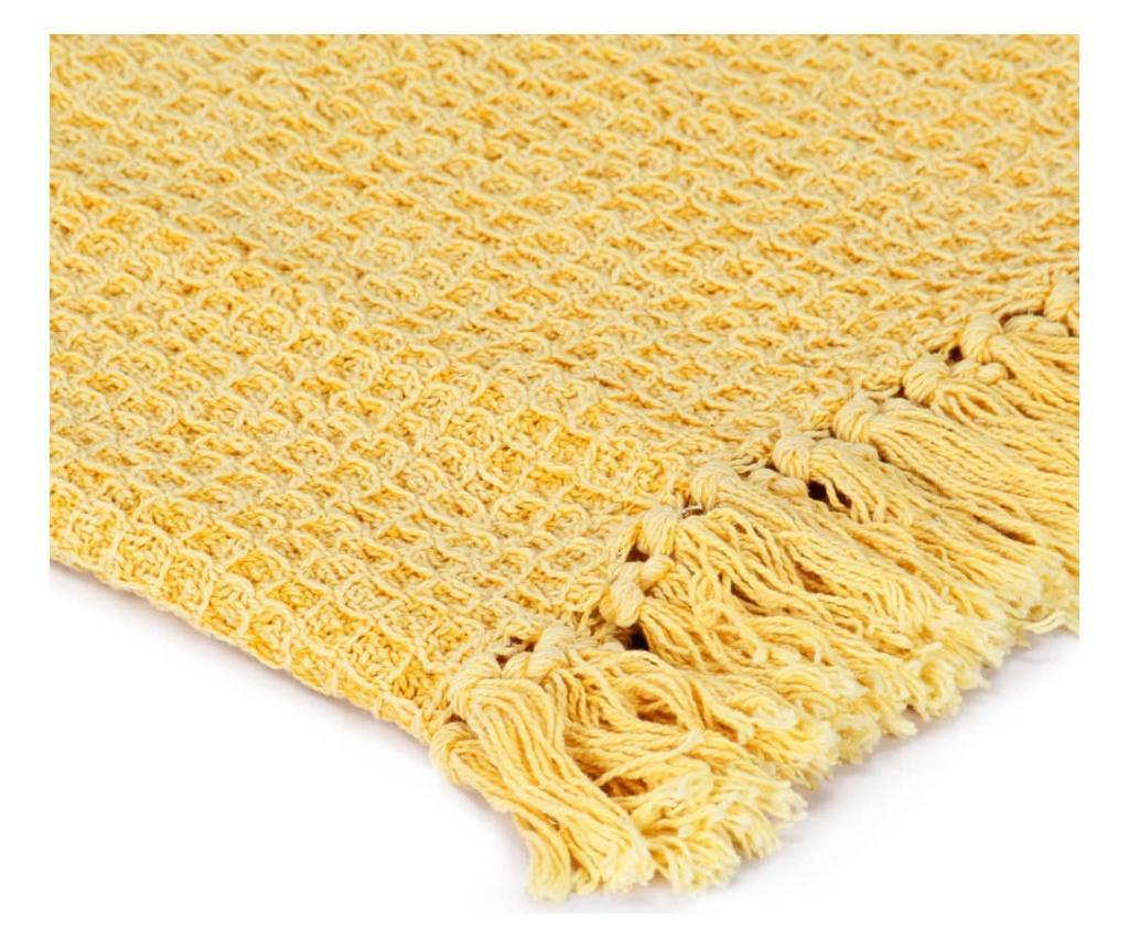 Přehoz bavlna 160 x 210 cm hořčicově žlutý
