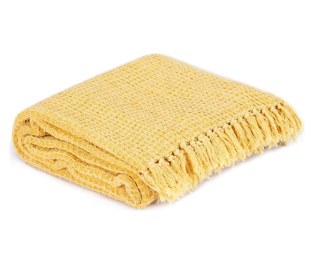 Přehoz bavlna 220 x 250 cm hořčicově žlutý