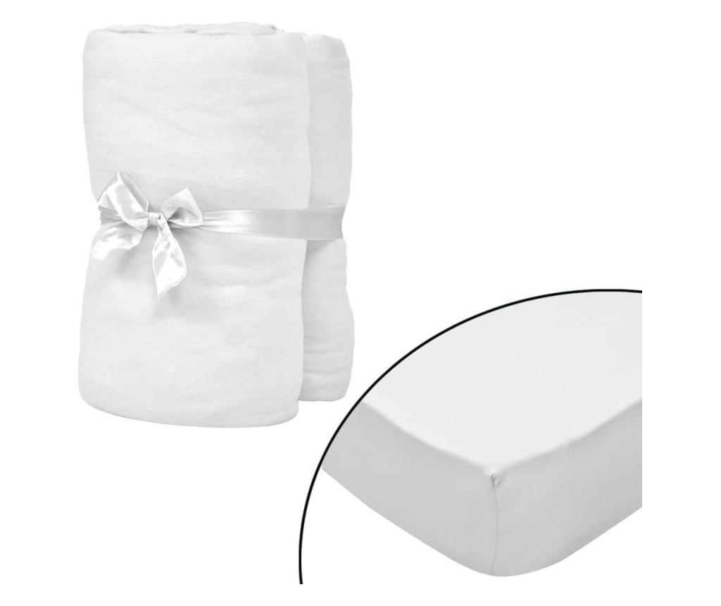 Cearsafuri cu elastic patut 4 buc. alb, 40x80 cm jerseu bumbac