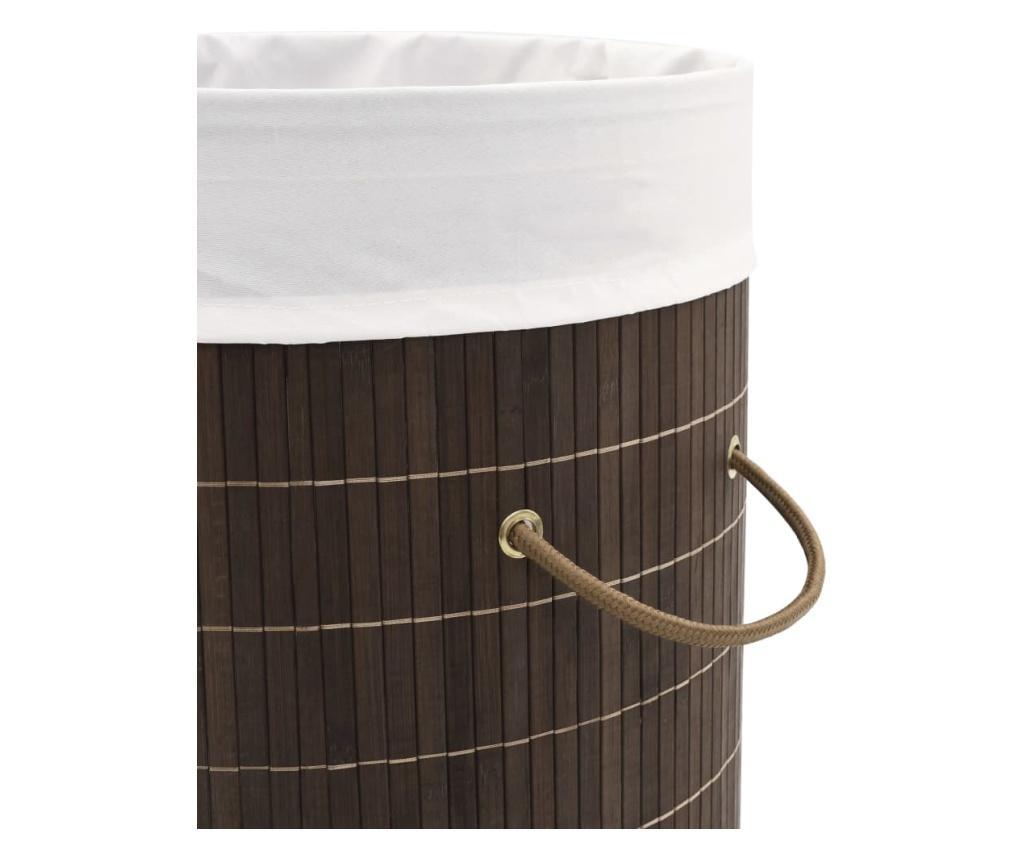 Bambusowy kosz na pranie okrągły, ciemnobrązowy kolor