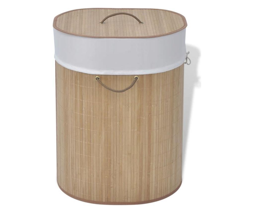 Bambusowy kosz na pranie - owalny, naturalny kolor