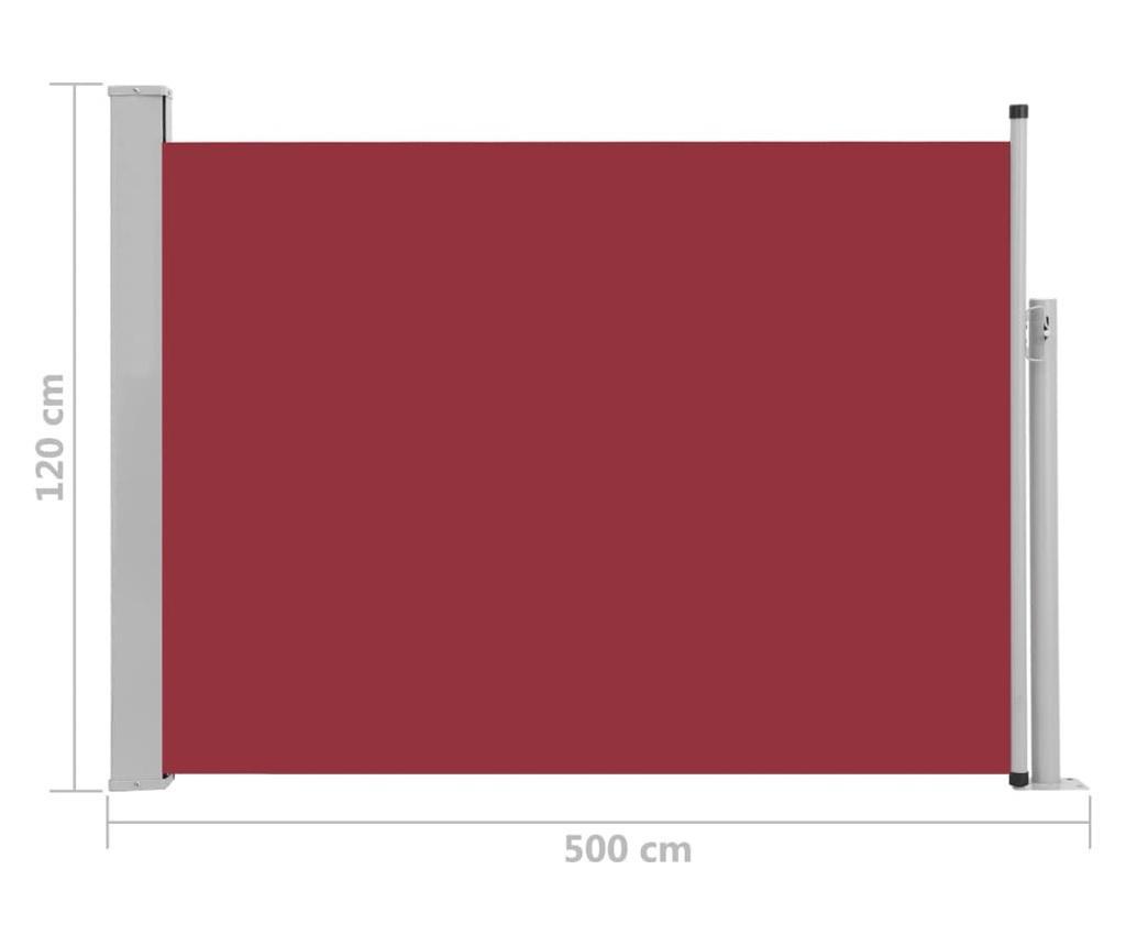 Прибираща се странична тента, 120x500 см, червена