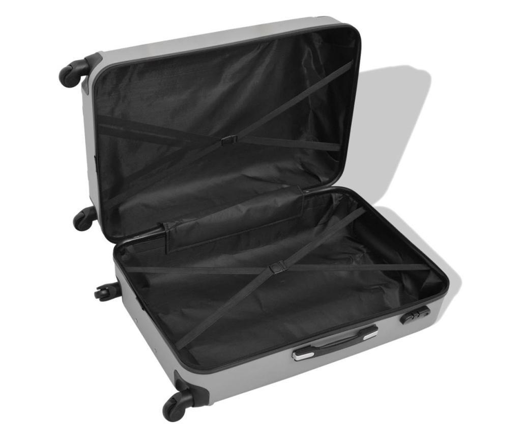Set de valize carcasa tare, argintiu, 4 buc.