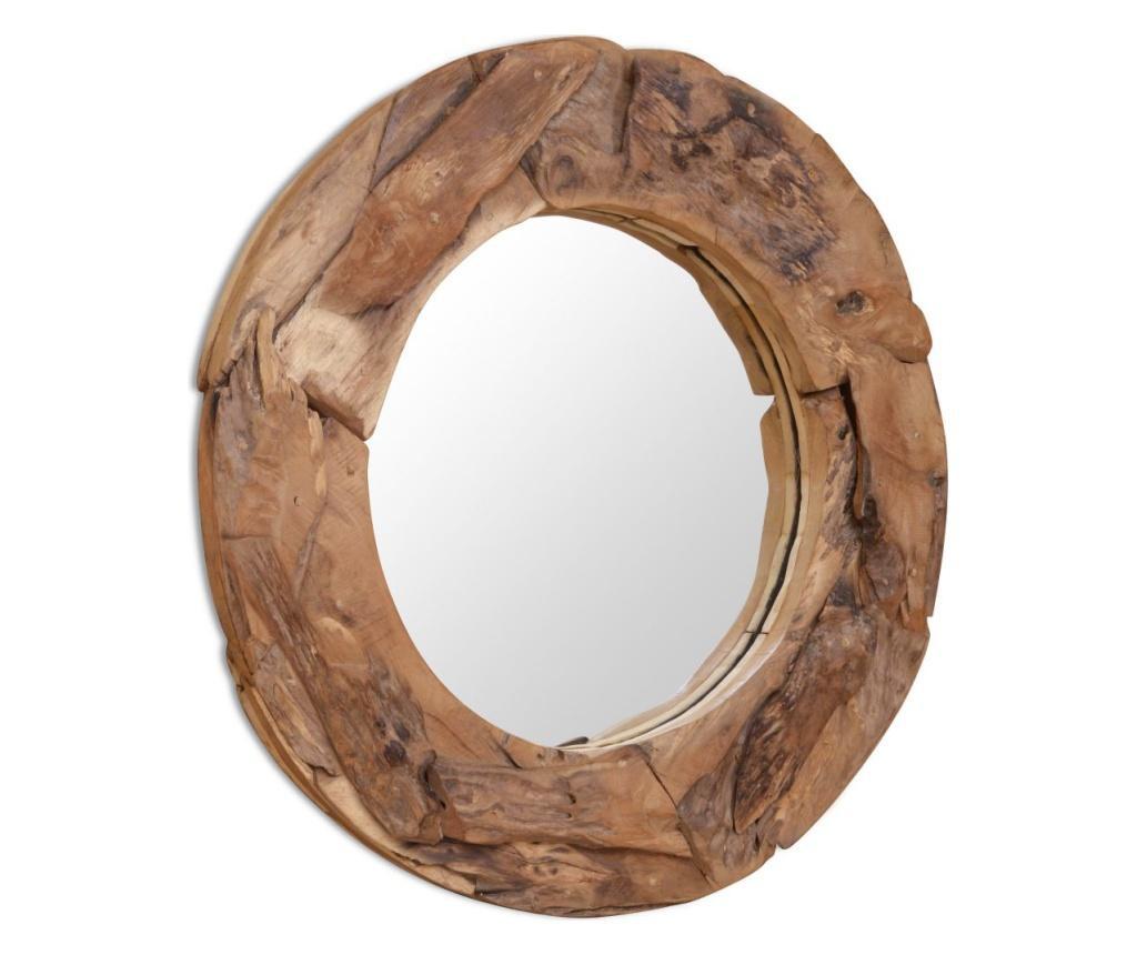 Oglinda decorativa Lemn de tec 80 cm Rotunda