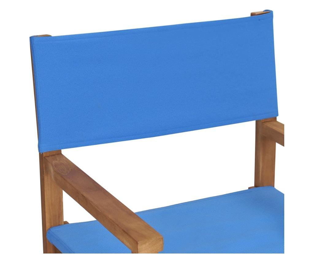 Krzesło reżyserskie, lite drewno tekowe, niebieskie
