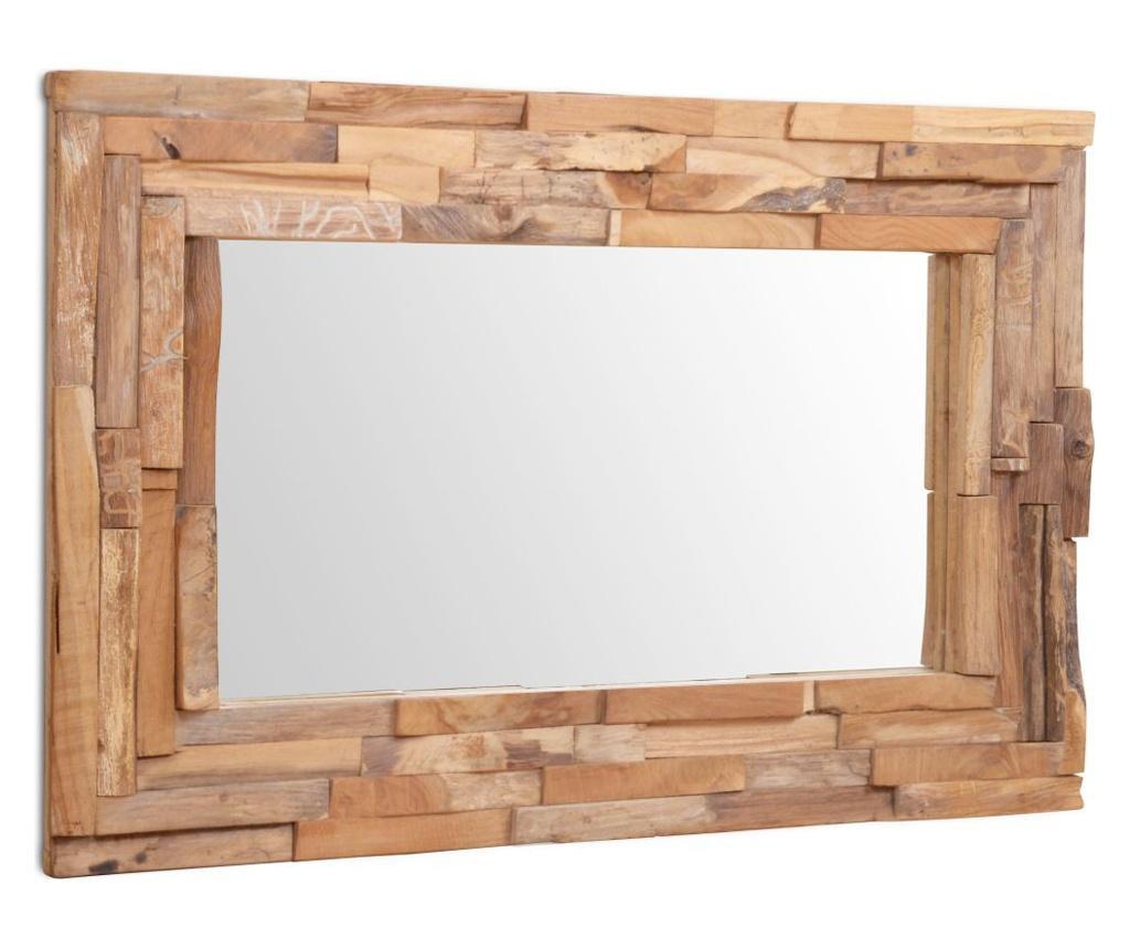 Oglinda decorativa din lemn de tec, 90 x 60 cm, dreptunghiular