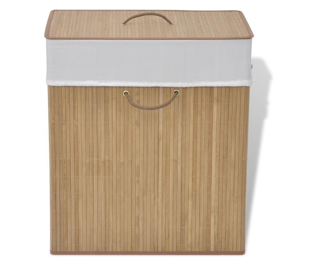 Bambusowy kosz na pranie, prostokątny, naturalny