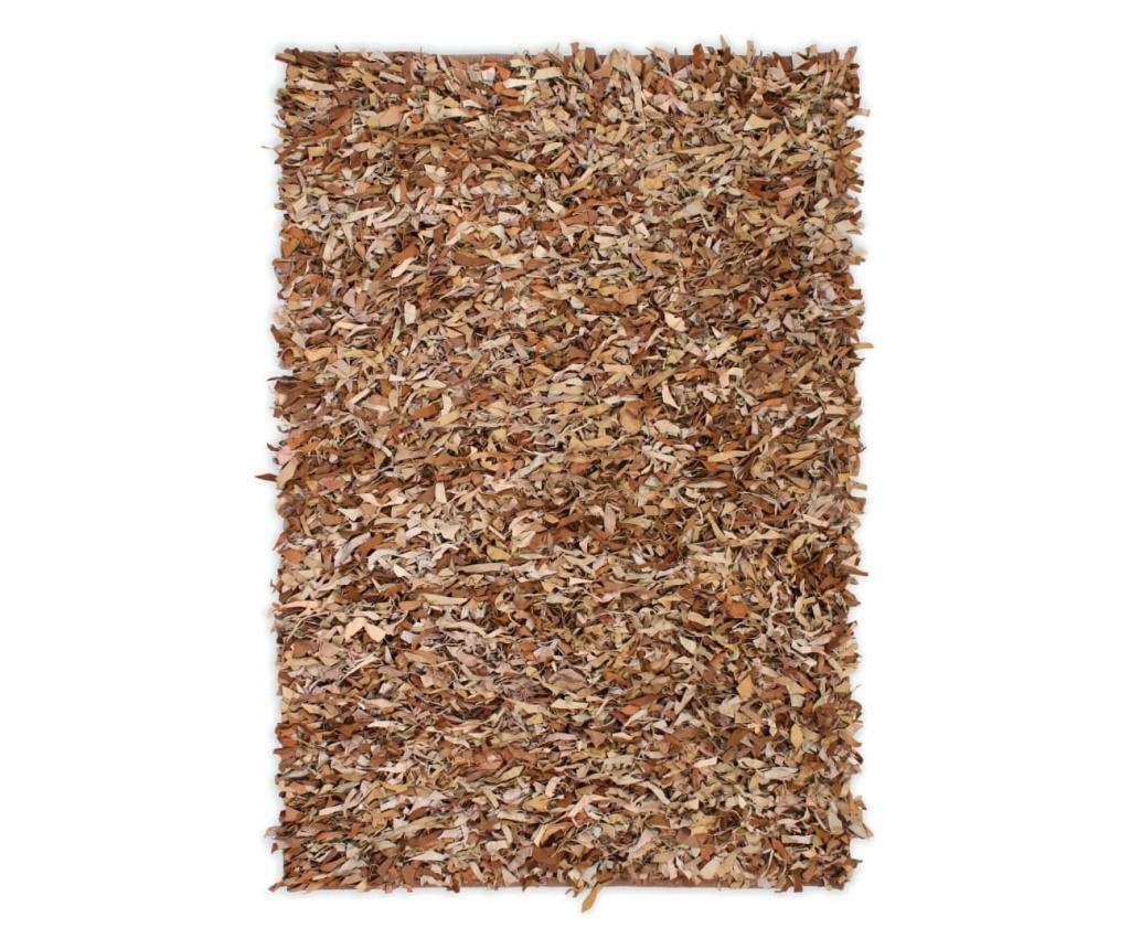 Dywan shaggy, prawdziwa skóra, 190x280 cm, jasnobrązowy