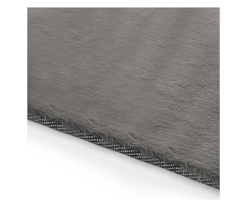 Dywanik, 80x150 cm, sztuczne futro królika, ciemnoszary