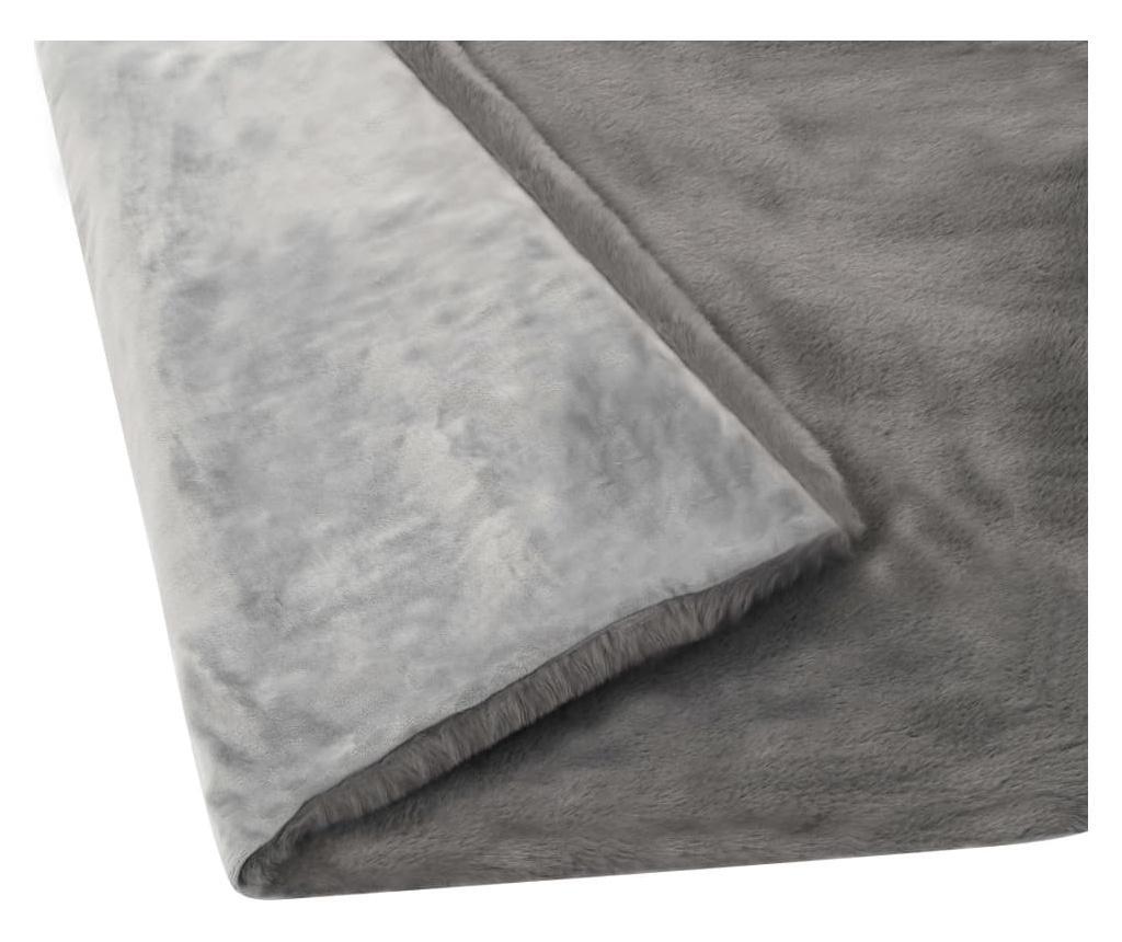 Přehoz 100 x 150 cm umělá králičí kožešina tmavě šedý