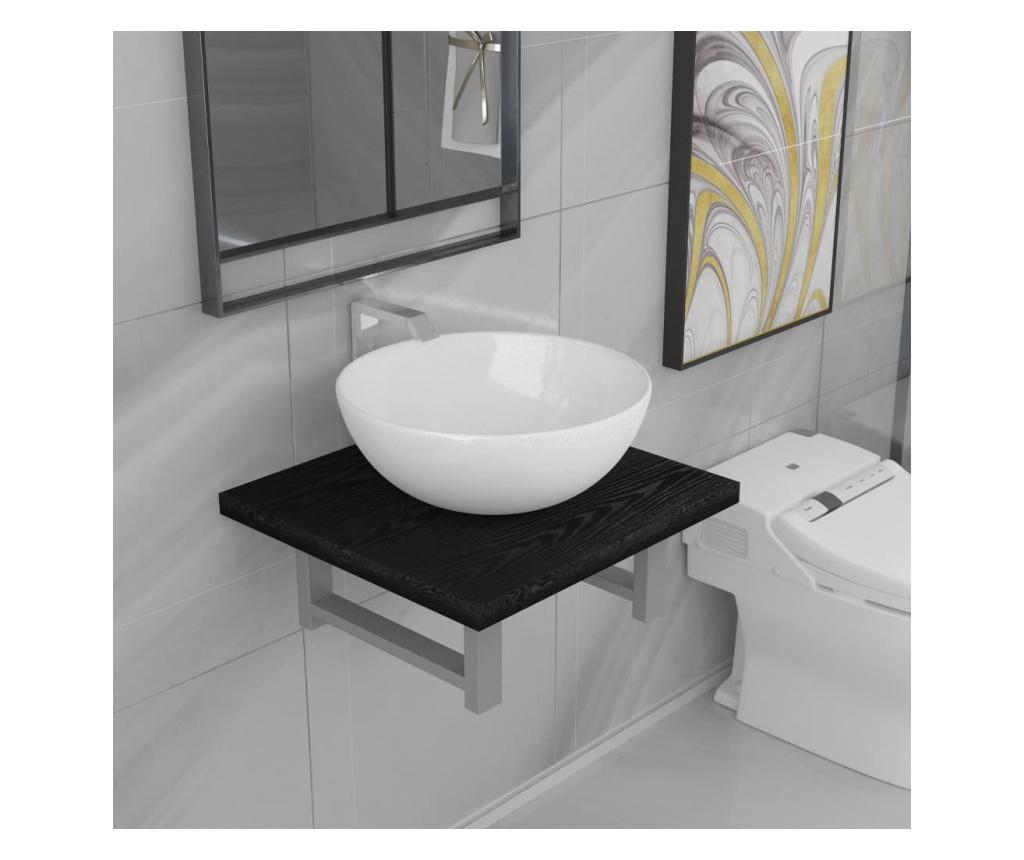Dvodijelni set kupaonskog namještaja keramički crni