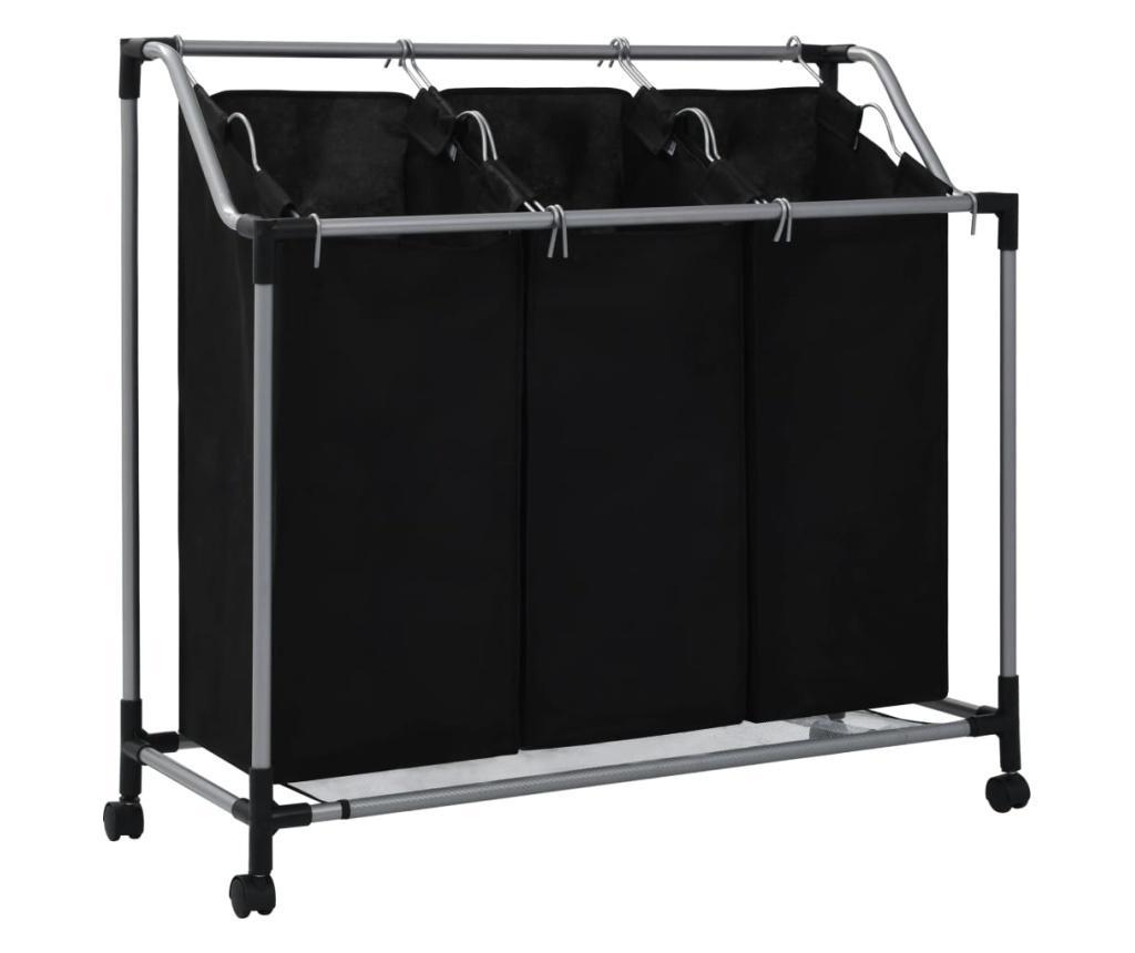 Sortownik na pranie z 3 pojemnikami, czarny, stalowy