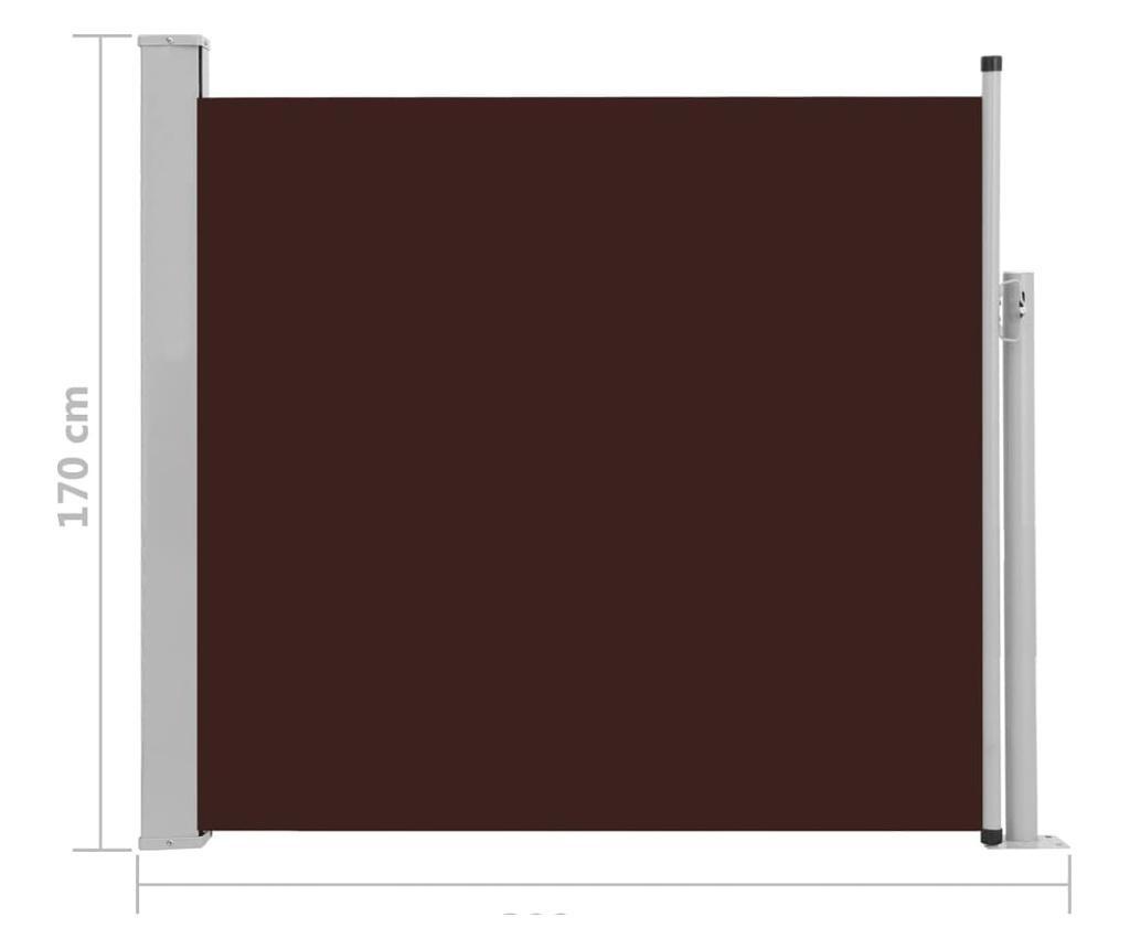 Прибираща се дворна странична тента, 170x300 см, кафява