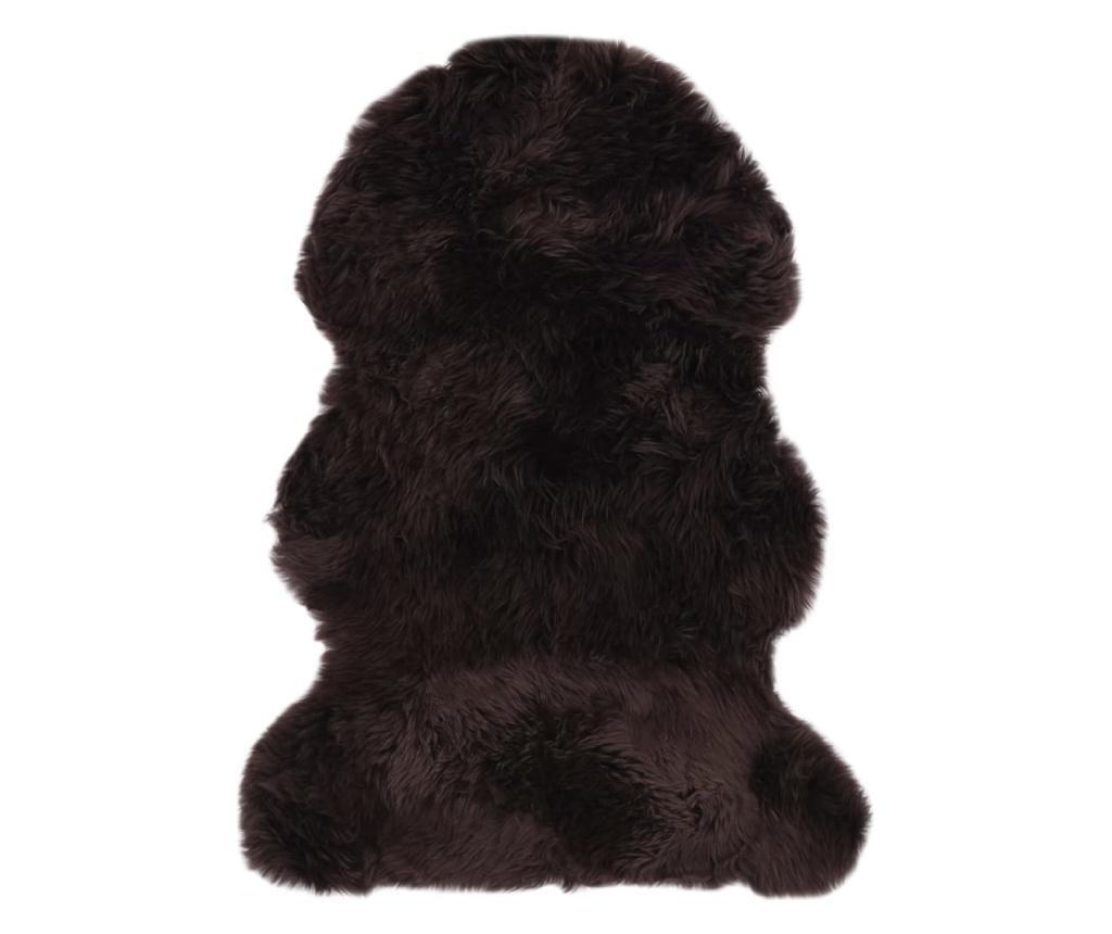 Dywanik ze skóry owczej, 60 x 90 cm, brązowy
