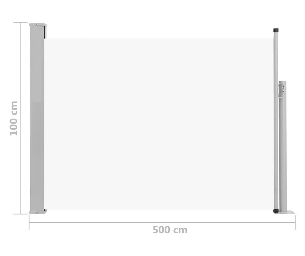 Прибираща се странична тента, 100x500 см, кремава