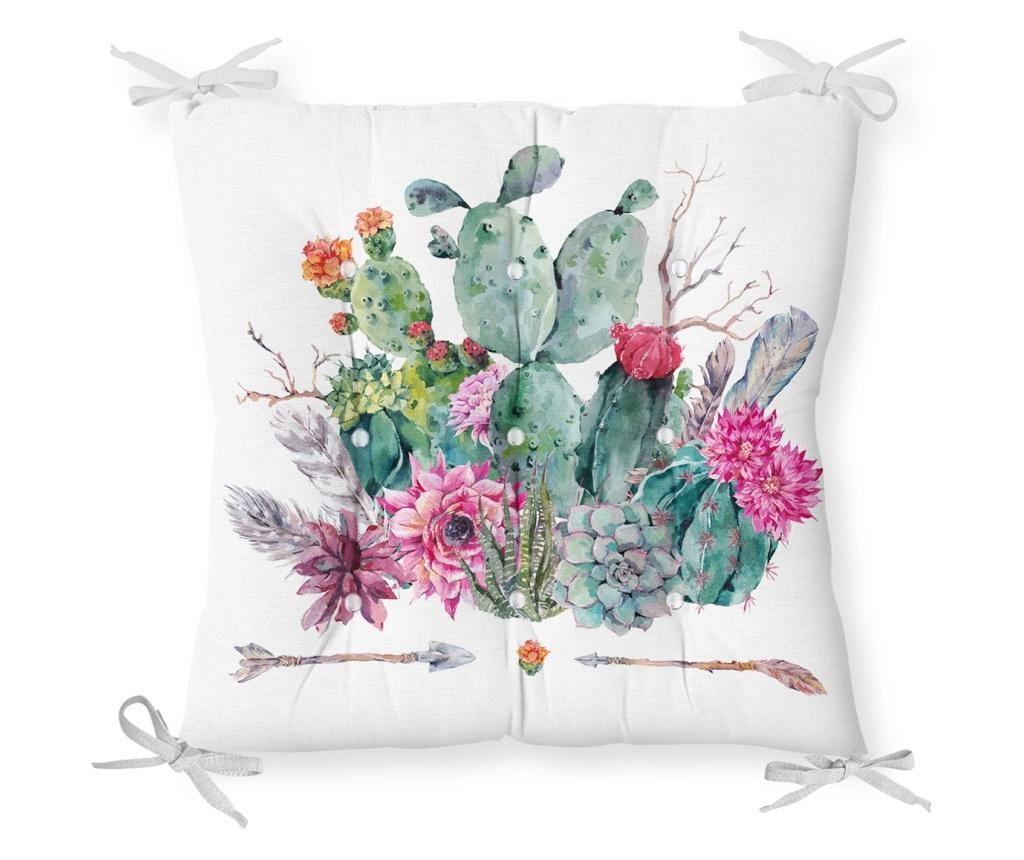 Perna de sezut Minimalist Cushion Covers Green Pink Cactus 40x40 cm