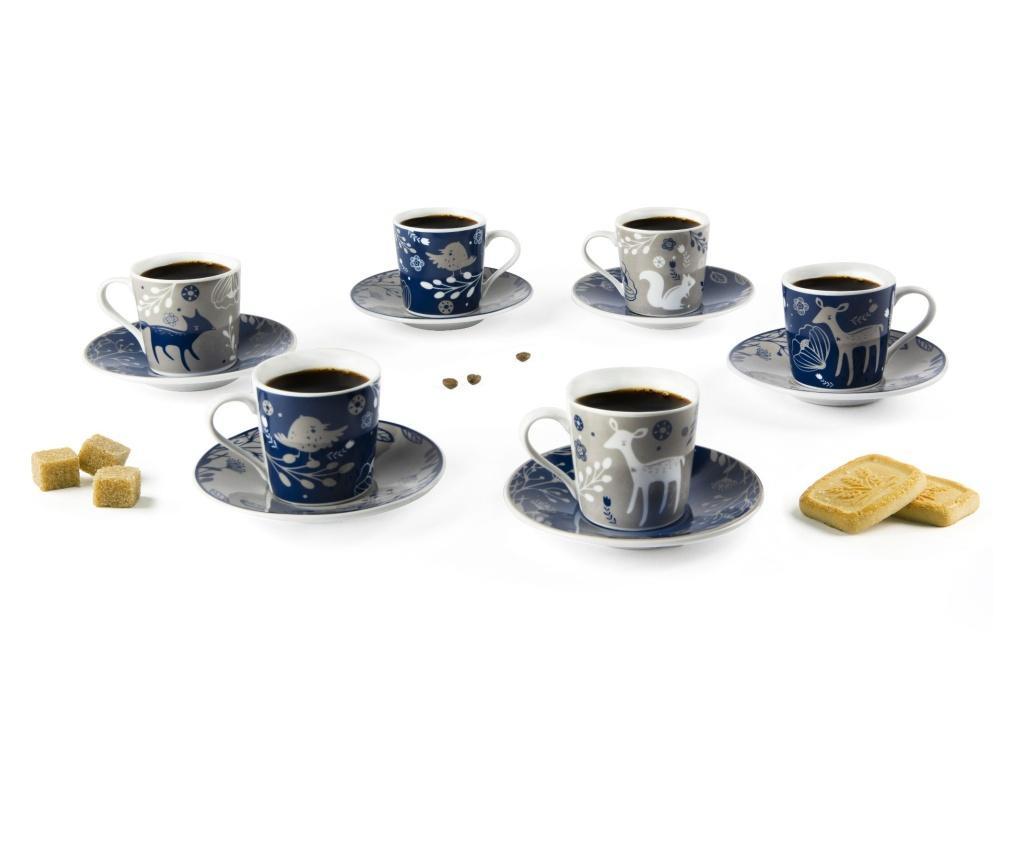 Set 6 cesti si 6 farfurioare pentru cafea Suomi 100 ml