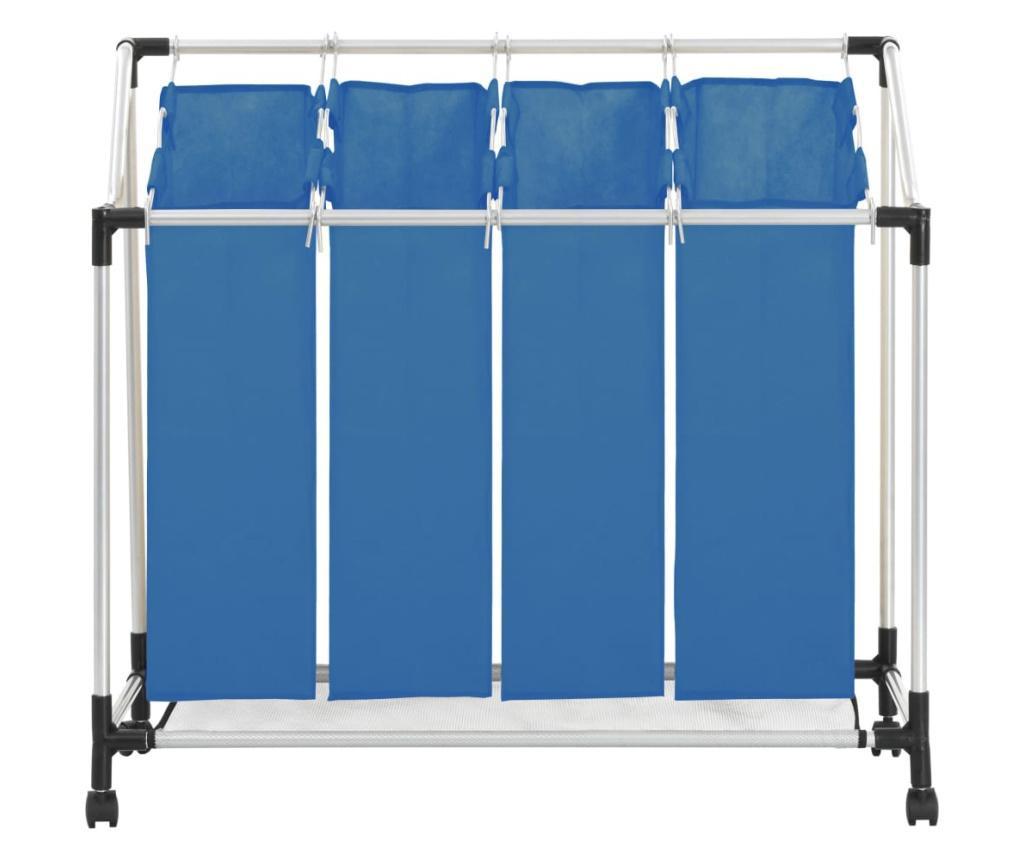 Sortownik na pranie z 4 pojemnikami, niebieski, stalowy
