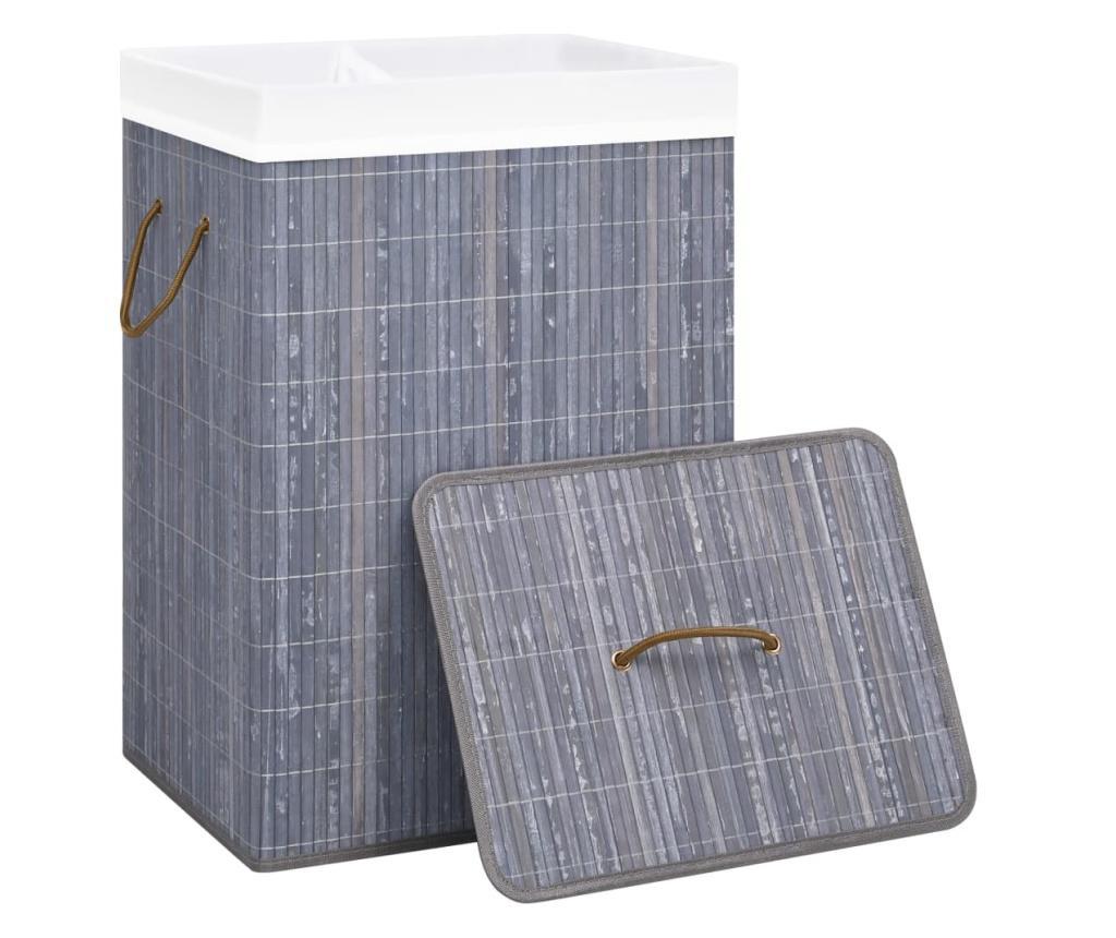Bambusowy kosz na pranie, szary, 72 L