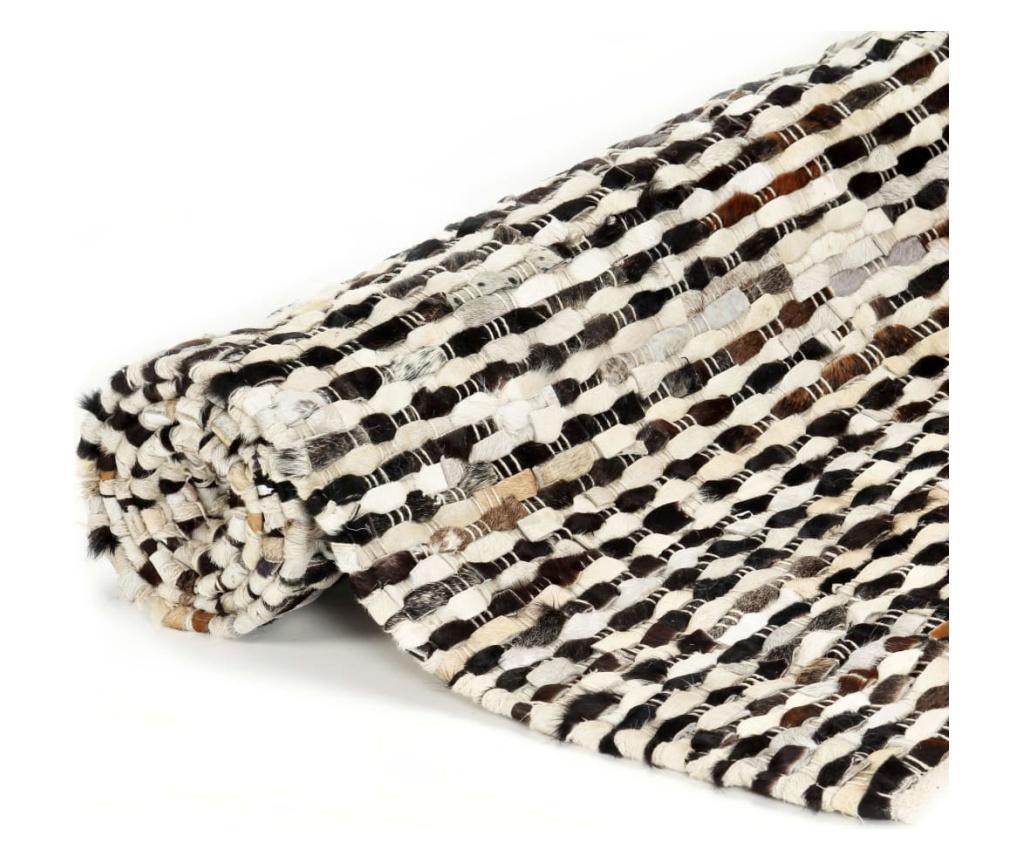 Dywan, skóra z włosiem, 120x170 cm, czarny/biały