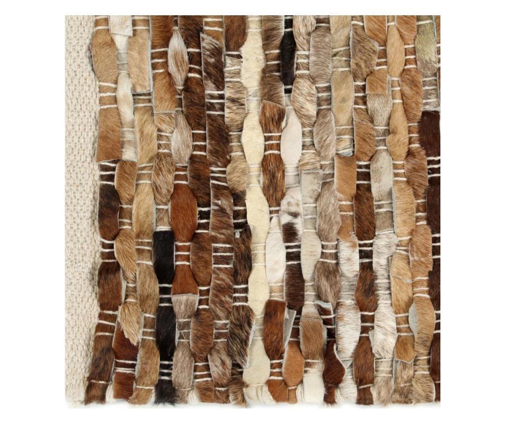 Dywan, skóra z włosiem, 120x170 cm, brązowy/biały
