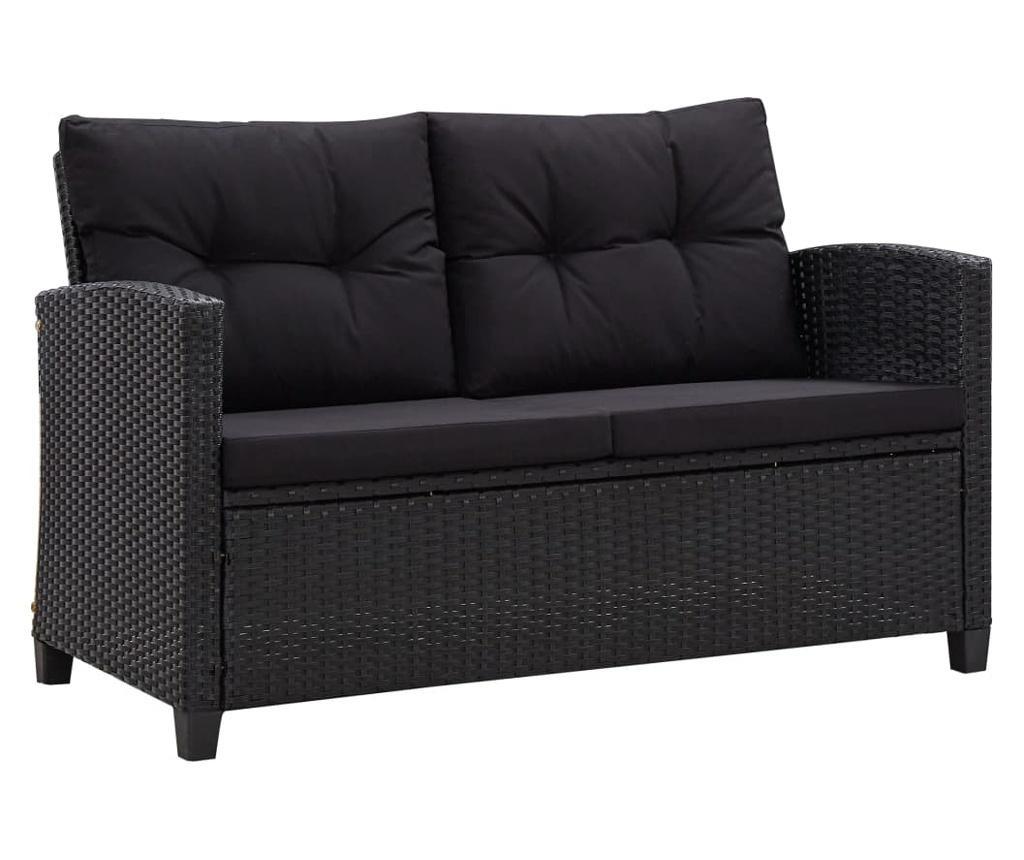 Canapea de gradina cu 2 locuri cu perne, negru, 124 cm, poliratan