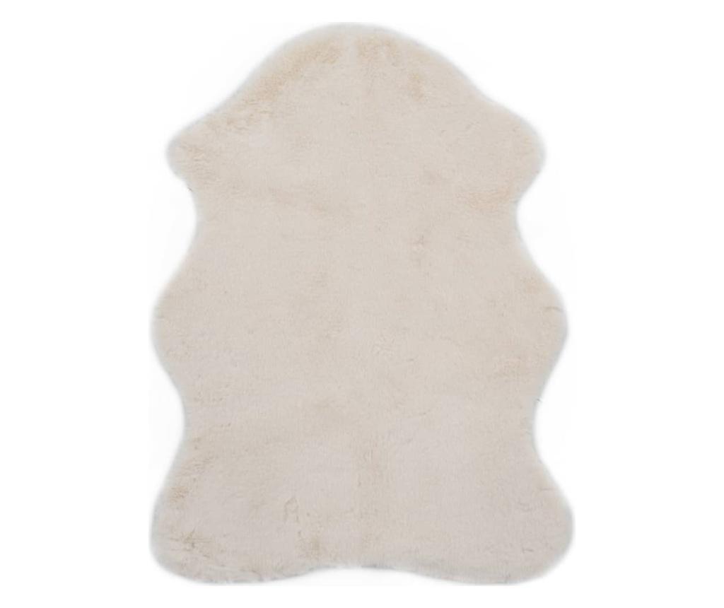Dywanik, 65 x 95 cm, sztuczne futro królika, kremowy