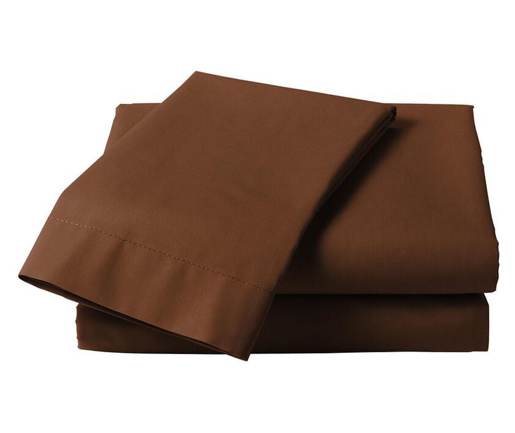 Cearsaf de pat 240x260cm, Satinat, bumbac 100%, Maro