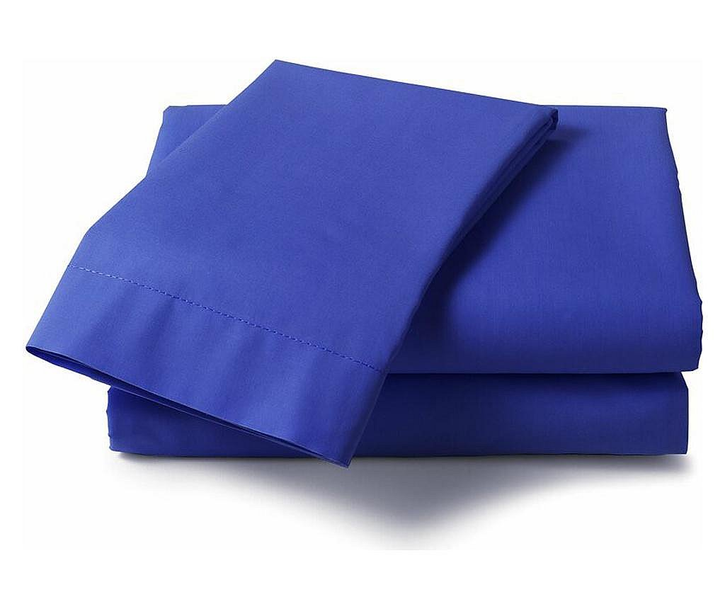 Cearsaf de pat 240x260cm, Satinat, bumbac 100%, Albastru
