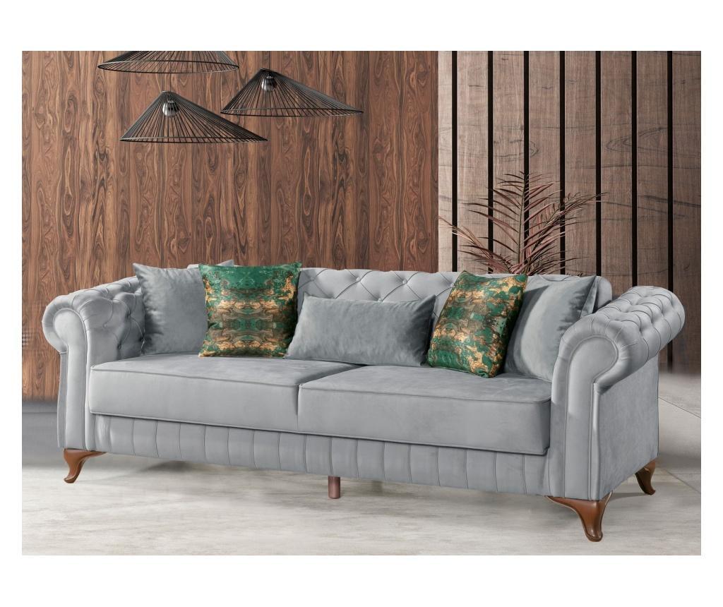 Rozkładana kanapa 3-osobowa Chesterfield Grey