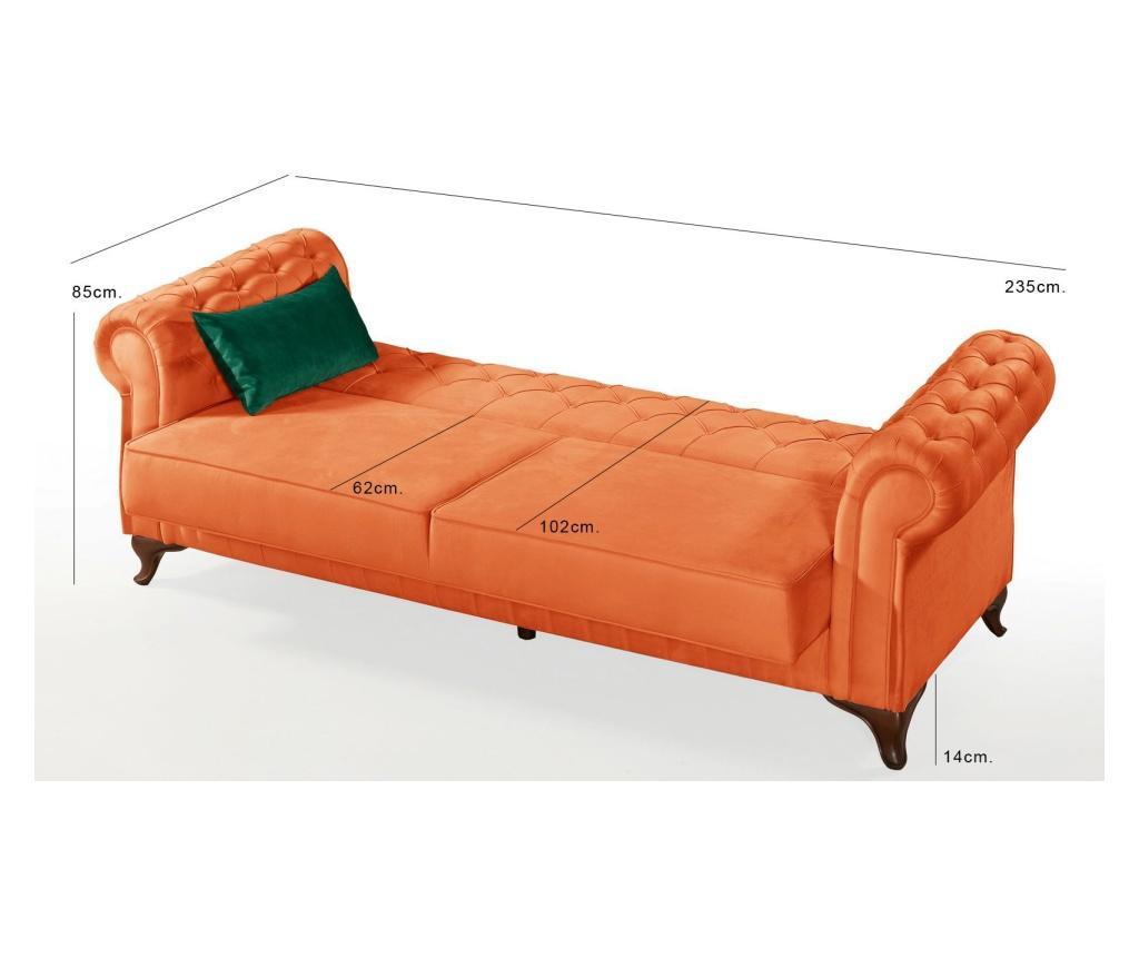 Canapea extensibila 3 locuri Chesterfield Orange