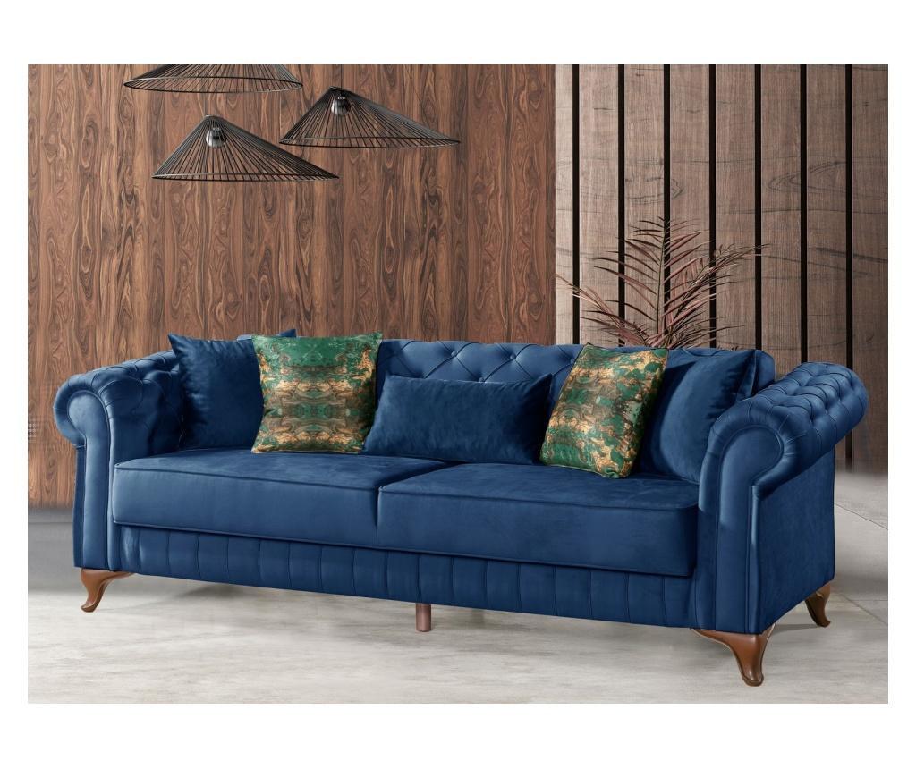 Rozkładana kanapa 3-osobowa Chesterfield Blue