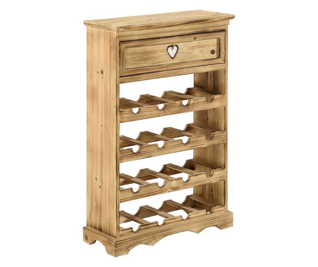 Suport Sticle Vin Mosel, 86 X 55 X 22 Cm, Culoarea Lemnului, Cu 4 Nivele, 16 Sticle