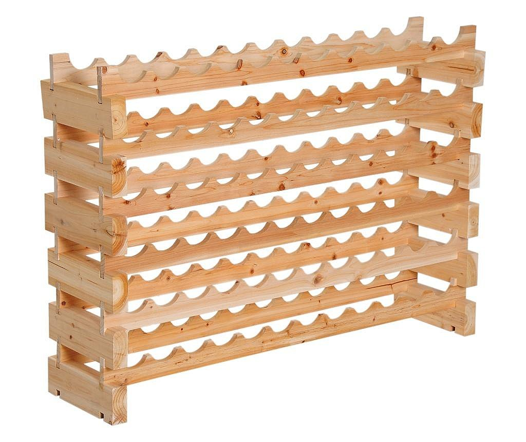 Homcom Beci Etajera Pentru Sticle Din Lemn De Pin 6 Rafturi 72 Sticle