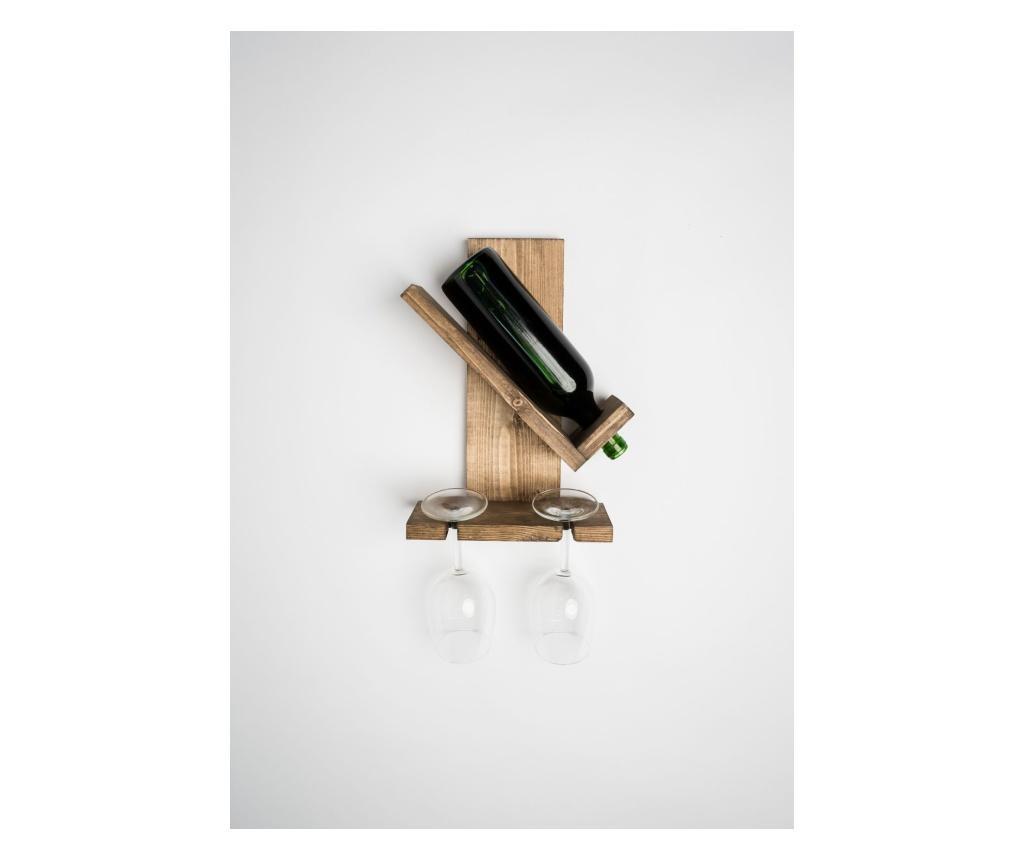 Suport Pentru Sticle Vin Si Pahare, Civary, 25x33x13 cm, Palisandru