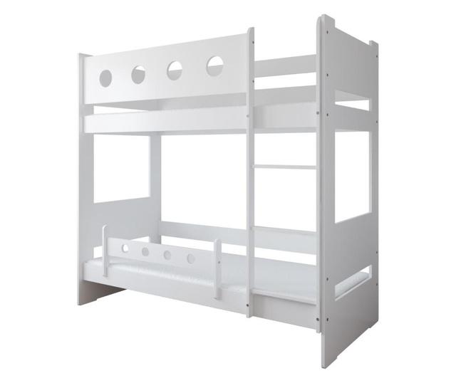 Pat pentru copii David 80x160 cm, Kiki Design, structura din lemn pin, alb