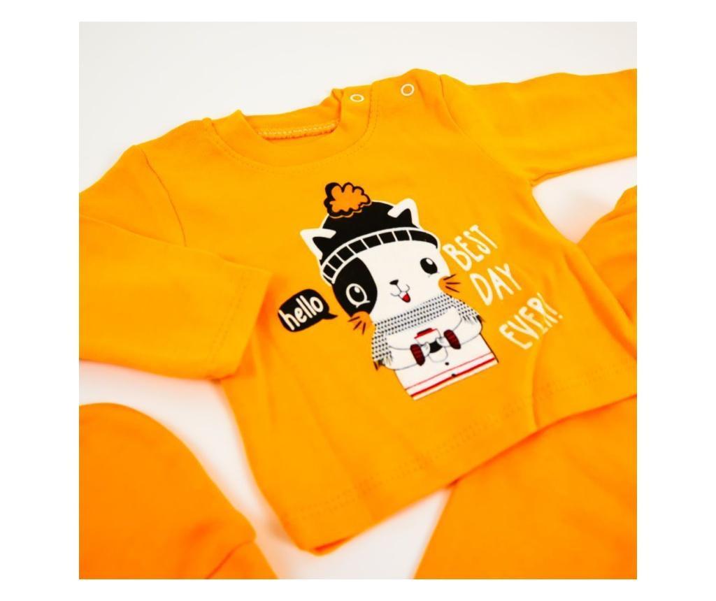 Pijama 2 Piese Best Day Orange  0-6 luni