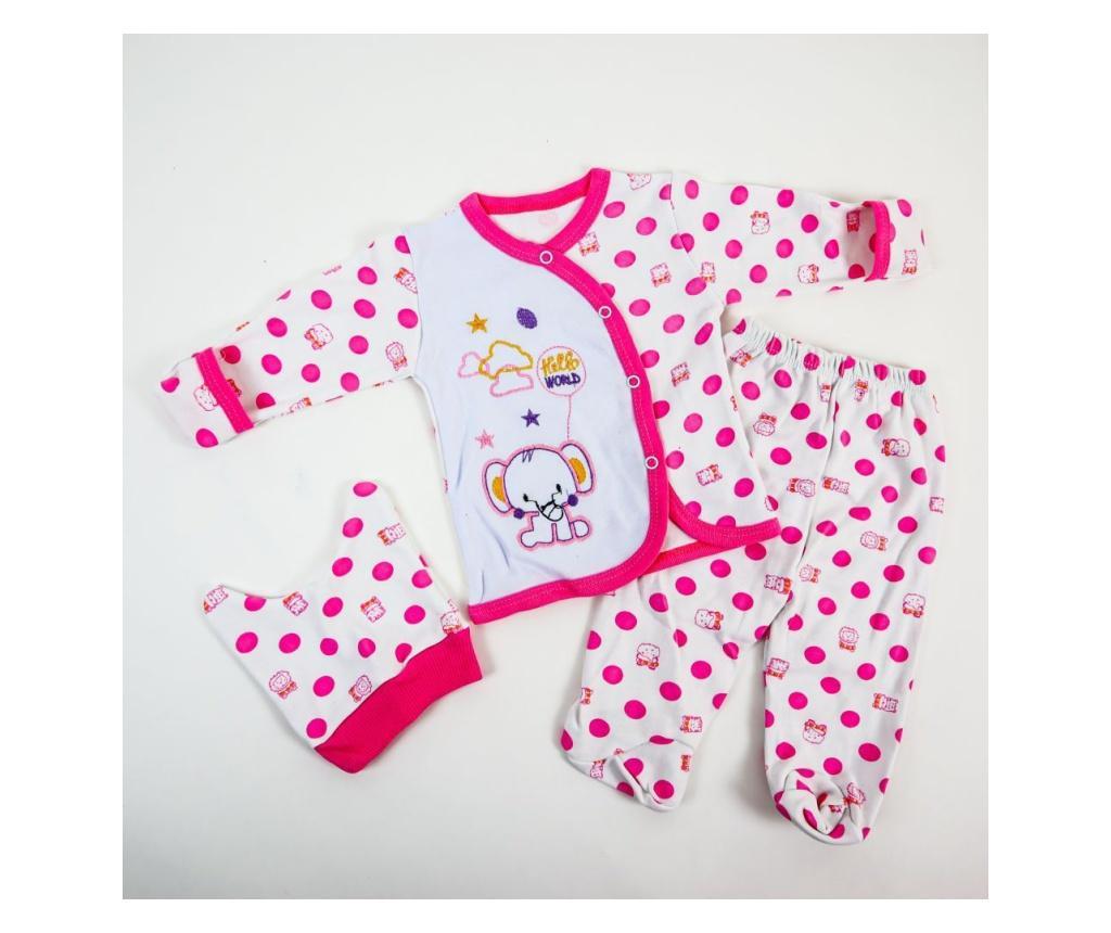 Pijama 3 Piese Hello World Roz  0-6 luni
