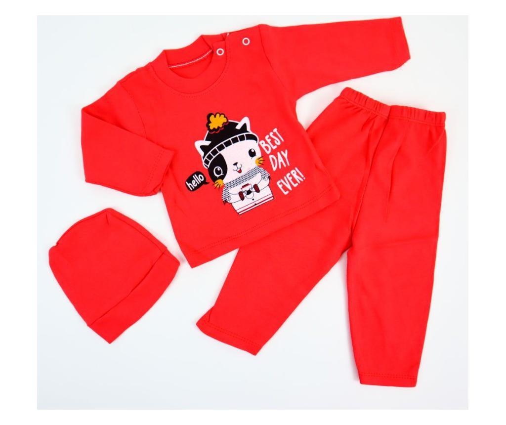 Pijama 2 Piese Best Day Rosu  0-6 luni