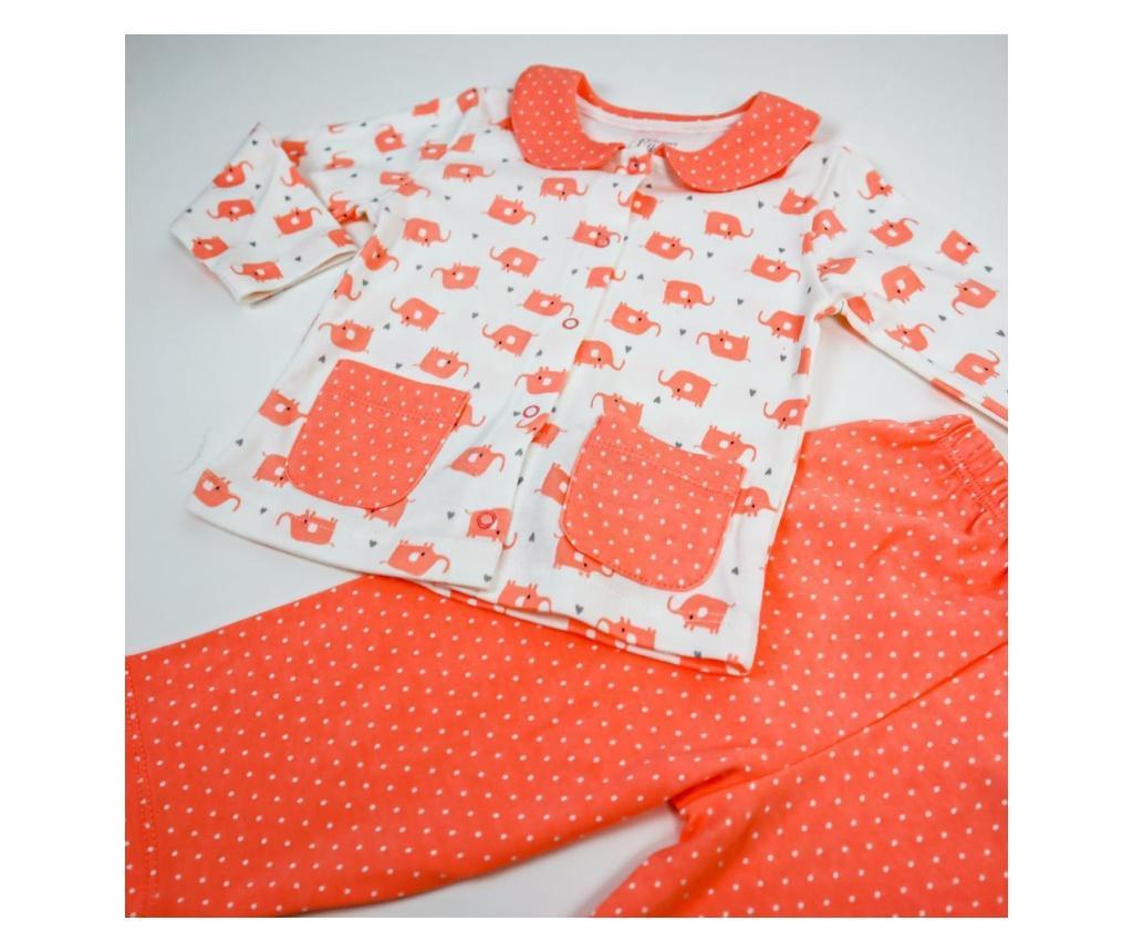 Pijama 2 Piese Eleganta Cu Guleras Corai  3 Ani