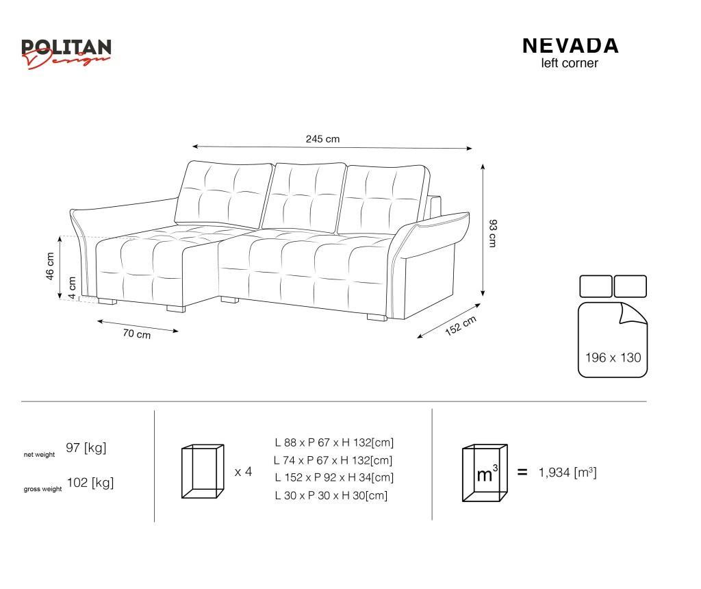 Lijeva kutna garnitura na razvlačenje Nevada Grey