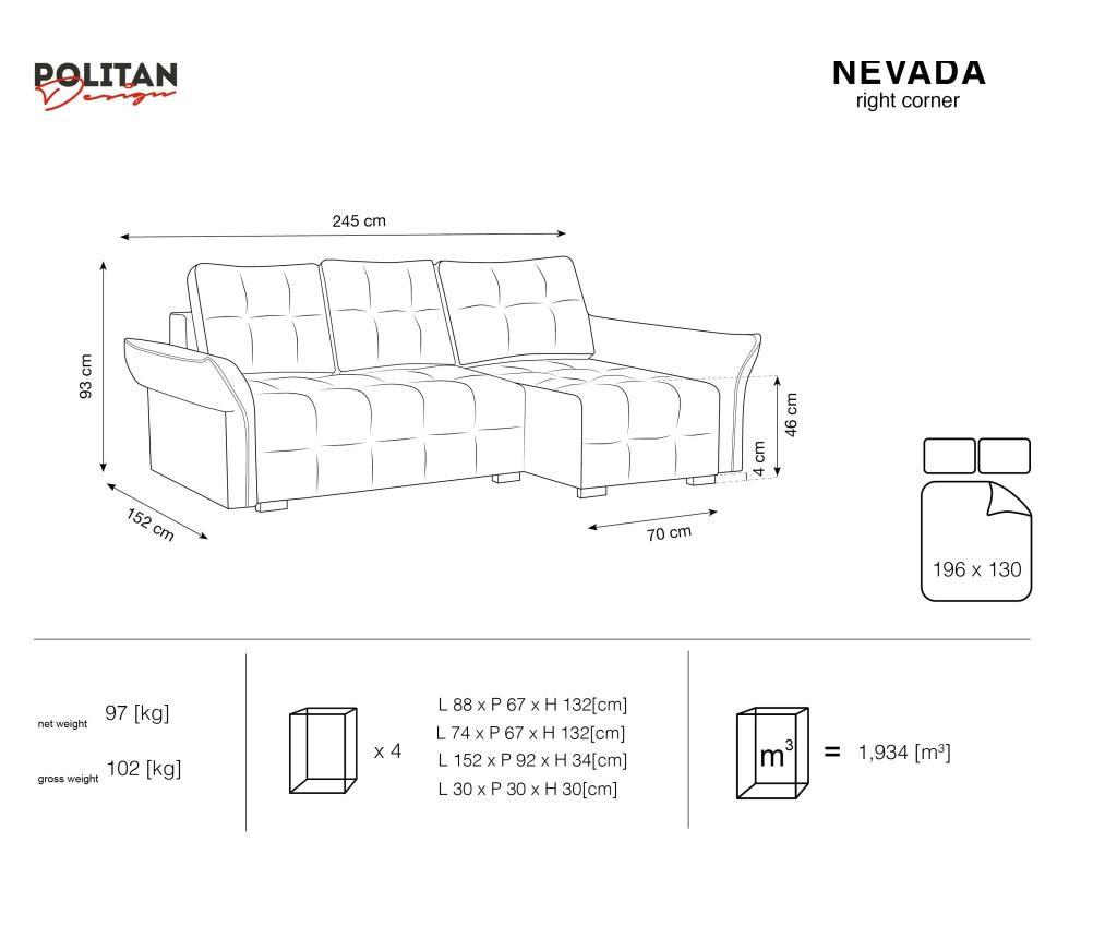 Desna kutna garnitura na razvlačenje Nevada Yellow