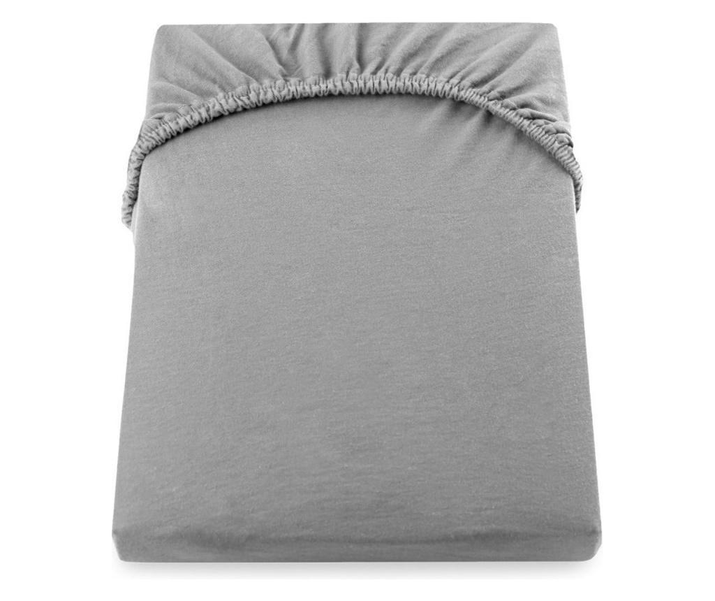 Cearceaf pat cu elastic 160*200+25cm yuni gri