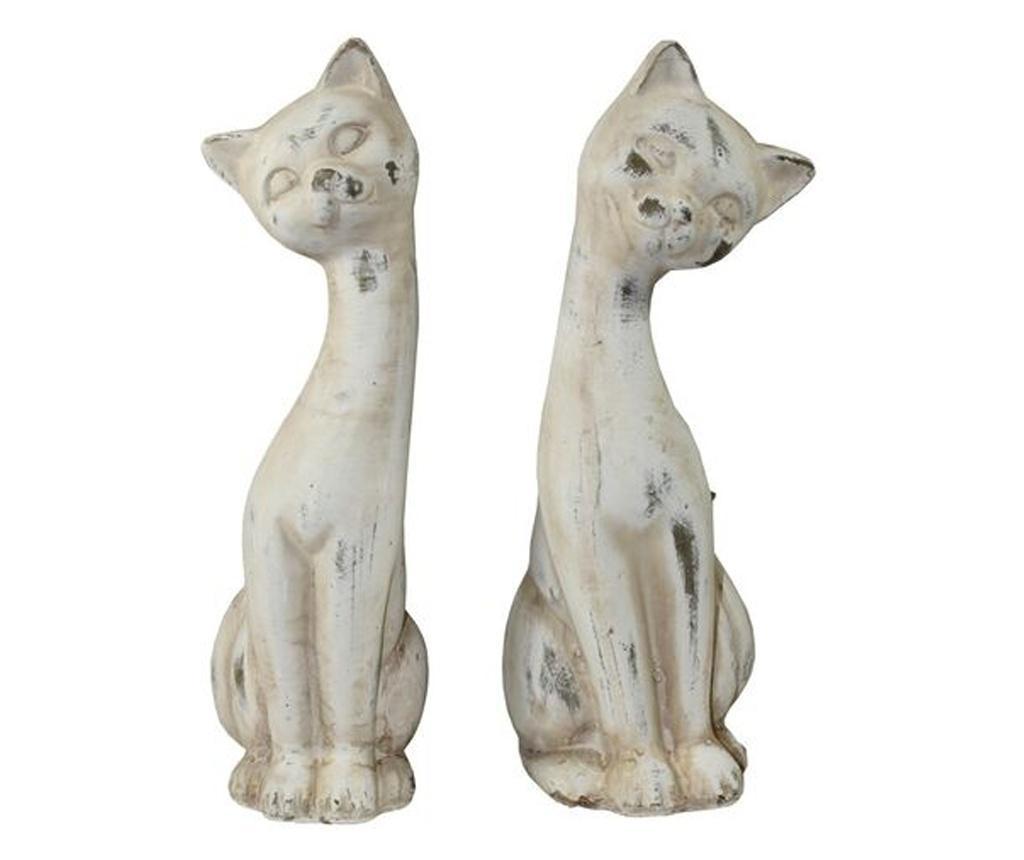 Figurina pisica, crem, 28x10x11.5 cm