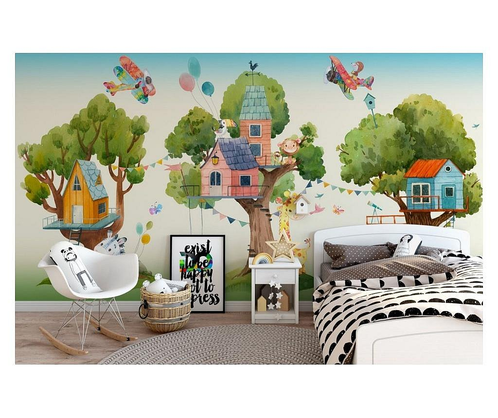 Set 3 bucati de tapet Tree Houses and Cute Animals Kids Room 91x260 cm